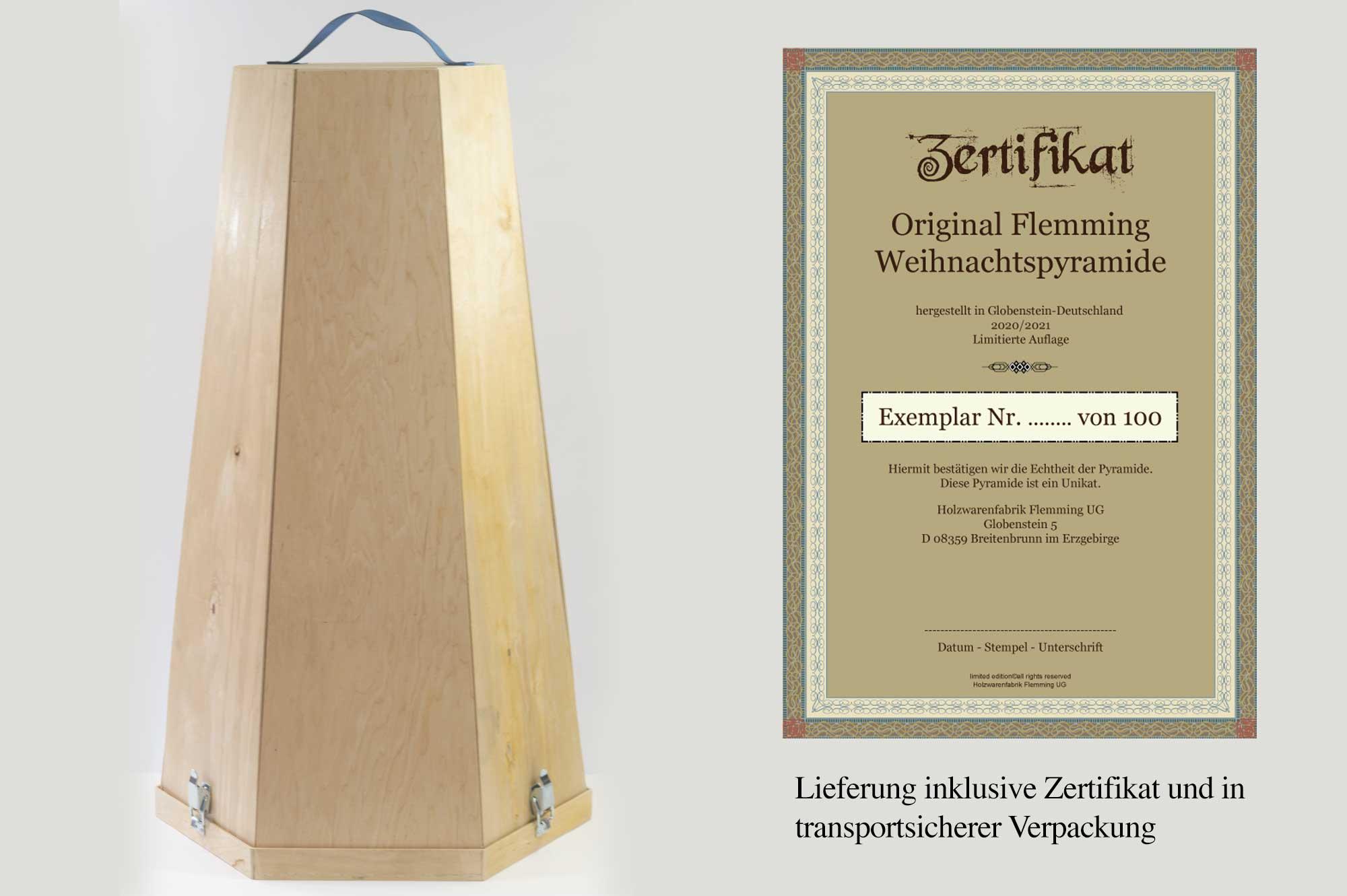 Transportsichere Verpackung und Zertifikat inklusive